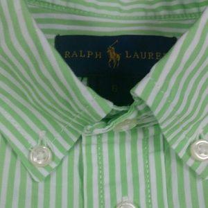 Ralph Lauren lime green white striped boys shirt